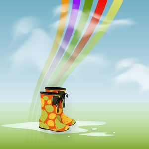Abstract Rainy Season Background With Colorful Boots And Rainbow