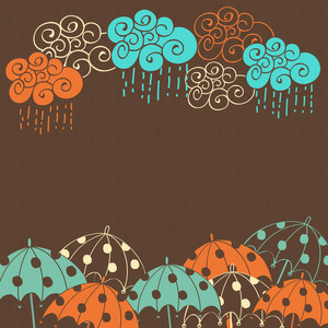 Abstract Rainy Season Background With Colorful Clouds And Umbrellas