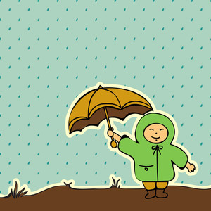 Abstract Rainy Season Background With Cute Kid Holding Umbrella