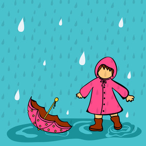 Abstract Rainy Season Background With Cute Kid