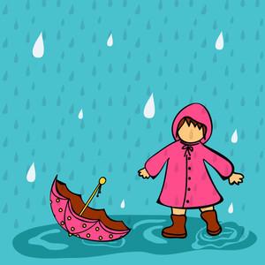 Abstract Rainy Season Background With Cute Kid