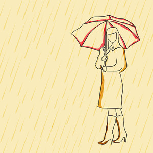 Abstract Rainy Season Background With Illustration Of A Women Holding Umbrella