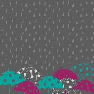 Abstract Rainy Season Background With Rain Drops And Umbrellas