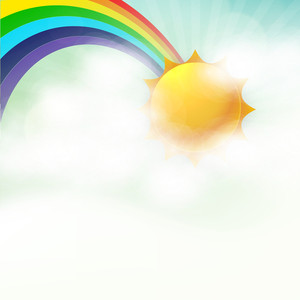 Abstract Rainy Season Background With Rainbow