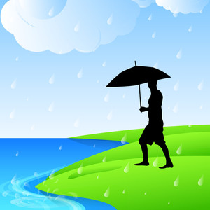 Abstract Rainy Season Background With Silhouette Of A Man Holding Umbrella