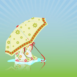 Abstract Rainy Season Background With Umbrella And Boots