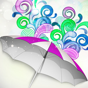 Abstract Rainy Season Background With Umbrella On Colorful Abstract Background