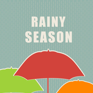 Abstract Rainy Season Background With Umbrella