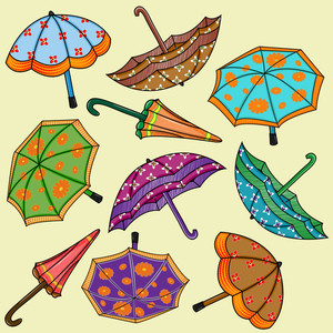 Abstract Rainy Season Background With Umbrellas