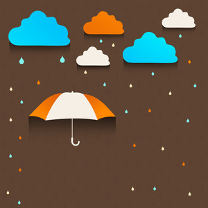 Abstract Rainy Season Background With Waterdrops And Clouds