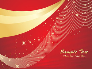 Abstract Red And Golden Waves Background