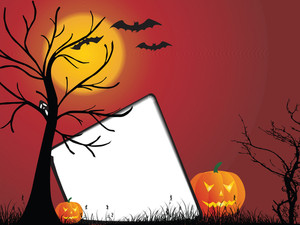 Abstract Red Background With Halloween Elements