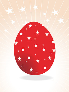 Abstract Red Star Pattern Easter Egg