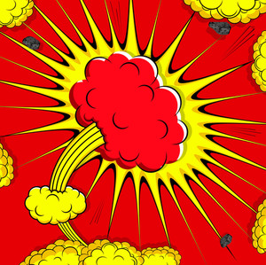 Abstract Retro Clouds Comic Background