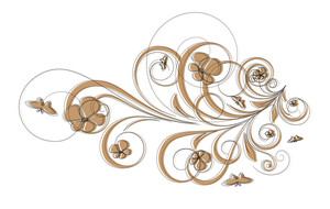 Abstract Retro Floral Frame Elements