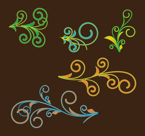 Abstract Retro Flourish Designs