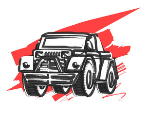 Abstract Retro Jeep Vector