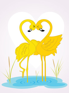 Abstract Romantic Waterbird Background