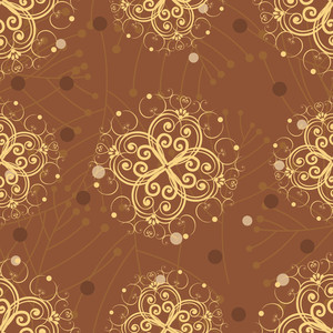 Abstract Seamless Pattern With Golden Florels. Vector