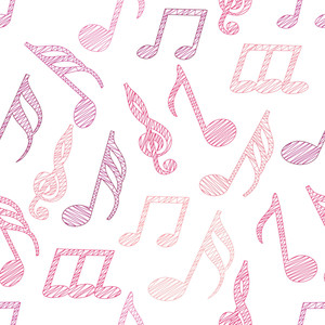 Abstract Seamless Pattern With Music Notes
