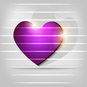 Abstract Shiny Heart In Purple Color.