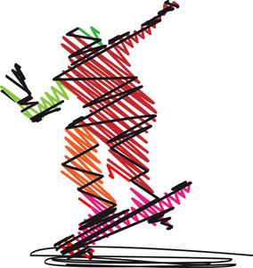 Abstract Skateboarder Jumping. Vector Illustration