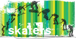 Abstract Skateboarder Jumping. Vector Illustration