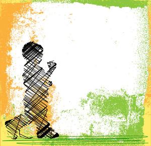 Abstract Sketch Of Children Walking. Vector Illustration