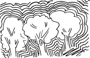Abstract Sketch Of Trees Background. Vector Illustration