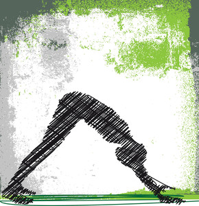 Abstract Sketch Of Woman Meditating And Doing Yoga. Vector Illustration