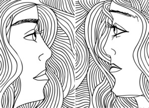 Abstract Sketch Of Women Face. Vector Illustration.