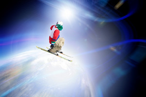 Abstract skier catching some major air flying through outer space.