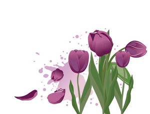Abstract Spring Illustration With Lots Of Beautiful Tulips