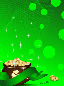 Abstract St Patrick's Pot With Ribbon.vector Illustration .