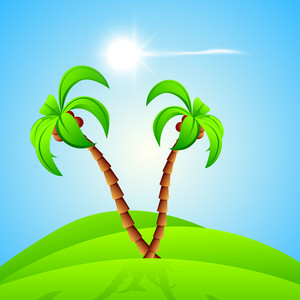 Abstract Summer Background With Palm Trees And Shining Sun