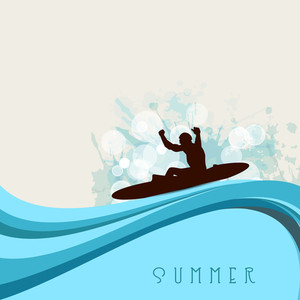 Abstract Summer Background With Silhouette Of A Man Doing Kayaking