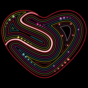 Abstract Valentines Retro Heart On Black Background