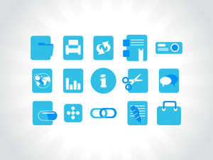 Abstract Vector Blue Icons Element Illustrations