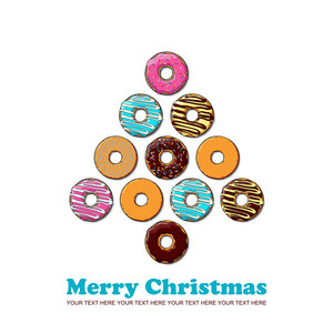 Abstract Vector Christmas Tree Make From Cartoon Donuts.