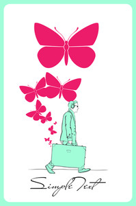 Abstract Vector Illustration Of A Men With Travel Bag And Butterflies.