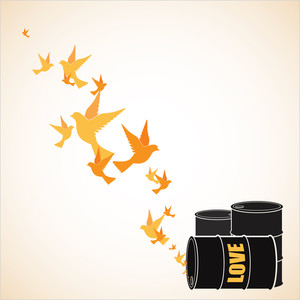 Abstract Vector Illustration Of Barrels  And Birds.