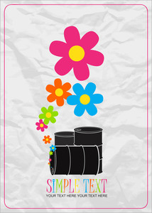 Abstract Vector Illustration Of Barrels  And Flowers.