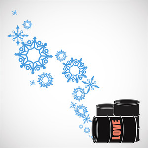 Abstract Vector Illustration Of Barrels  And Snowflakes.