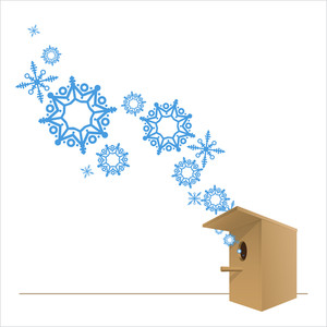 Abstract Vector Illustration Of Birdhouse And Snowflakes.