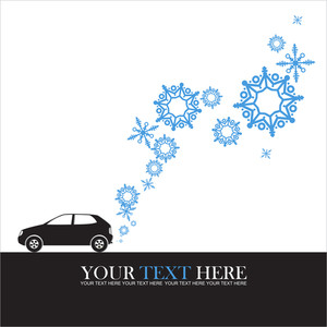 Abstract Vector Illustration Of Car And Snowflakes.