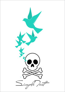 Abstract Vector Illustration Of Cranium And Birds.