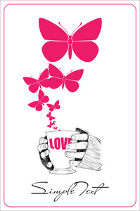Abstract Vector Illustration Of Cup In Hands With Butterflies.
