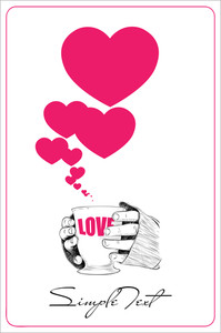 Abstract Vector Illustration Of Cup In Hands With Hearts.