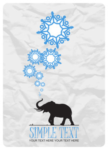 Abstract Vector Illustration Of Elephant And Snowflakes.