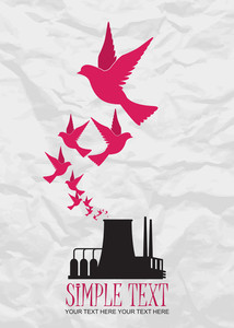 Abstract Vector Illustration Of Factory And Birds.
